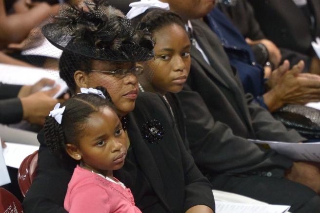 The Pinckney girls and their mother at Rev. Clementa Pinckney's funeral